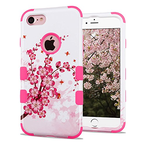 Iphone 3g Cherry (iPhone 7 Case, iPhone 8 Case, Dual Layer Hybrid, Slim Fit Polycarbonate and Silicone TPU Hard Cover - Cherry Blossoms)