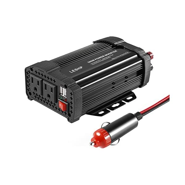 Power Inverter Converter£¬LESHP 400W 12V DC To 110V AC Modified Sine Wave Car Power Inverter Converter With Cigarette Lighter & Alligator Clips Cable