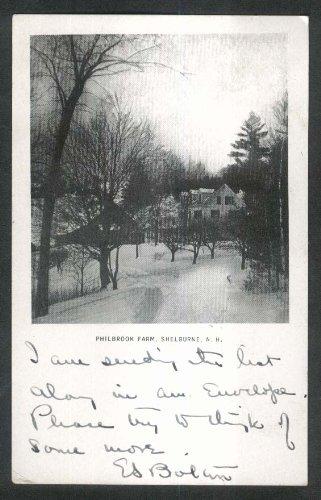 (Snowy Road at Philbrook Farm Shelburne NH undivided back postcard 1905)