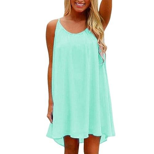 iToolai Women's Summer Casual Sundress Chiffon Sleeveless Tank Beach Shift Dress
