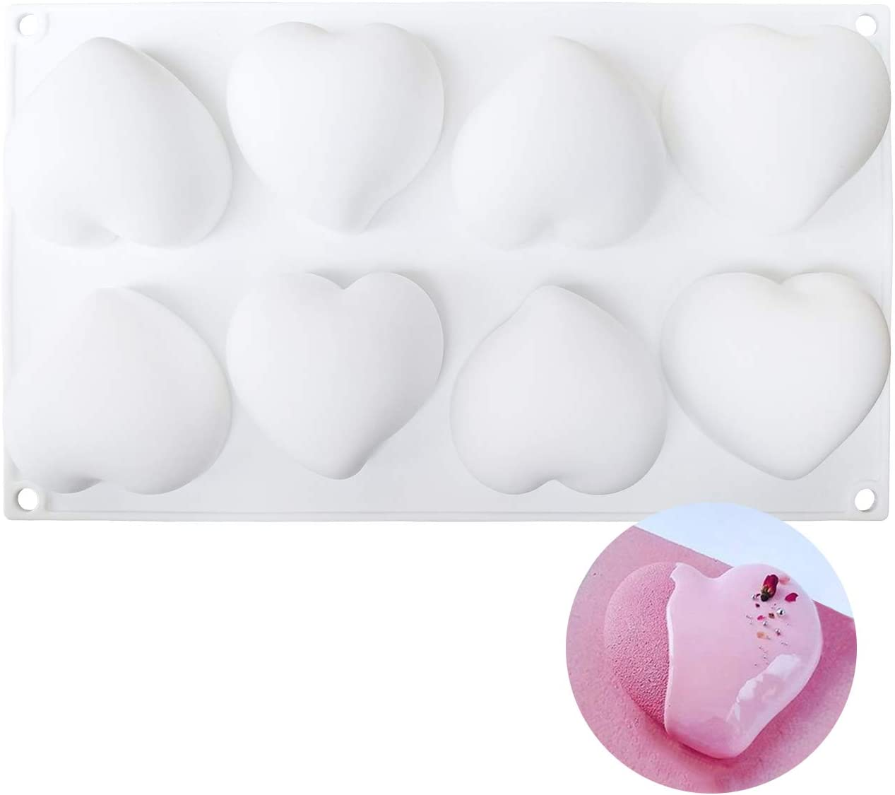 8 cavity heart silicone molds for baking and craft making