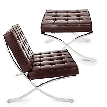 Happybuy Barcelona Style Lounge Chair and Ottoman Set PU Leather Mid Century Modern Classic Cushioned Luxury Replica Leisure Lounge Chair with Footrest Ottoman (Set, Brown)