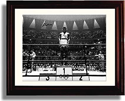 1960 Olympic Gold Medal Platform Framed Muhammad Ali Framed Autograph Replica Print