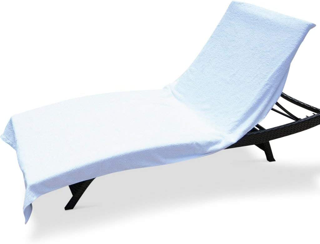 Amazon Com Winter Park Towel Co Chaise Lounge Pool Chair Cover Towel 40 X 90 Fitted Elastic Pocket Won T Slide White Home Kitchen