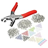 KING DO WAY 100Pcs 9.5mm Metal Snap Poppers Fasteners Ring Press Snap Studs with Hand Pressing Pliers Tool Kit for Babygrows Bibs Custom Clothing or DIY Projects