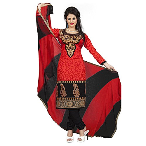 Semi Stitched Crepe Casual Wear Anarkali Suit In Red Colour