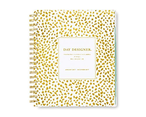 "Day Designer for Blue Sky ""Gold Spotty Dot"" 8 x 10 Daily/Monthly Planner, Jan 2017 - Dec 2017"