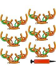 مجموعة من 6 قطع من حلقات قرن غزال الرنة القابلة للنفخ من كاجيموغا لعبة الرمي على شكل شجرة عيد الميلاد ألعاب الهدف ألعاب عيد الميلاد لمستلزمات حفلات الكريسماس مخزون هدايا عيد الميلاد، 6 قرون و24 حلقة