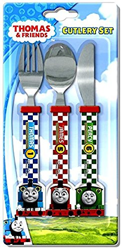 OFFICIAL THOMAS AND FRIENDS 3 PIECE CUTLERY SET!! Complete with Stainless Steel Knife, Fork and - Stainless Steel Spoon Thomas
