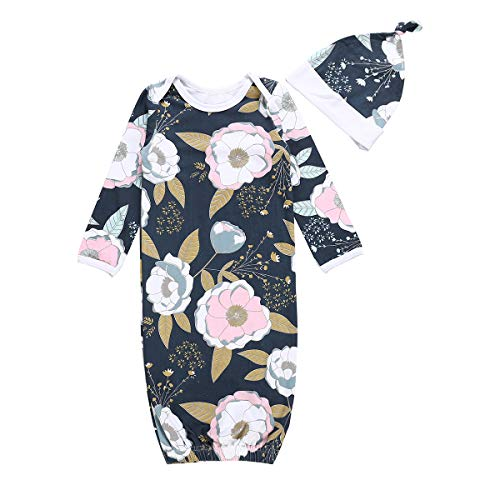 (Newborn Baby Girl Floral Nightgowns with Hat Sleeper Gown Take Home Outfit (Floral #1, 3-6 Months))