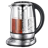 Electric Kettle Glass Tea kettle, One Touch Temperature Control Kettle for Professional Tea Brewing , NTC Absolute Precision Temp and Safety Control, 2 Yrs Warranty, 1.7L, Willsence Tea Master