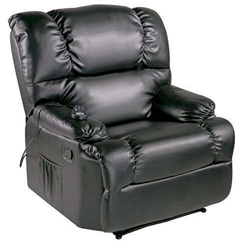 Merax Massage Recliner Chair Living Room Sofa, PU Leather Upholstery / 8 Vibration Motors / 4 Massage Zones / Adjustable Intensity (Black 01)