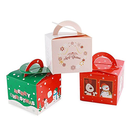 Gospire 24 Pieces Boxes Candy Boxes Party Favor Christmas Eve Box Xmas Party Bags Gift 3 Cute Styles -