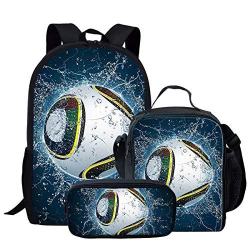 Cool Water Soccer Ball Print Kids Travel Backpack 3 Piece Set for Kindergarten Elementary School