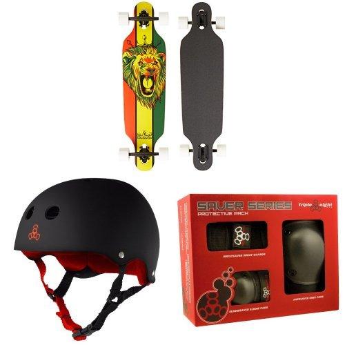 - Krown Rasta Freestyle Elite Complete Longboard, 9.25x36-Inch with Triple 8 Helmet and Pad Set