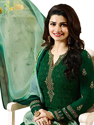 (Laxminarayan Green Georgette Embroidered India Pakistan Churidar Straight Salwar Suit)