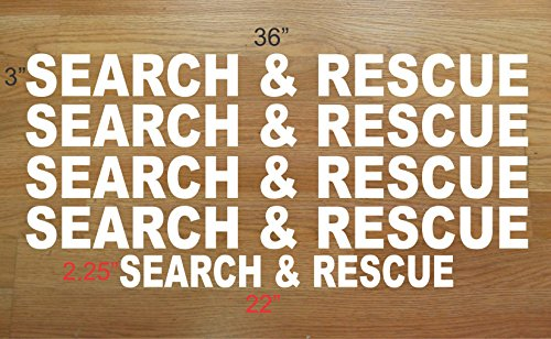 SEARCH & RESCUE DECAL SET Police5 huge Sticker Lot WHITE 4 Car Truck SUV Van Golf Cart ATV kit