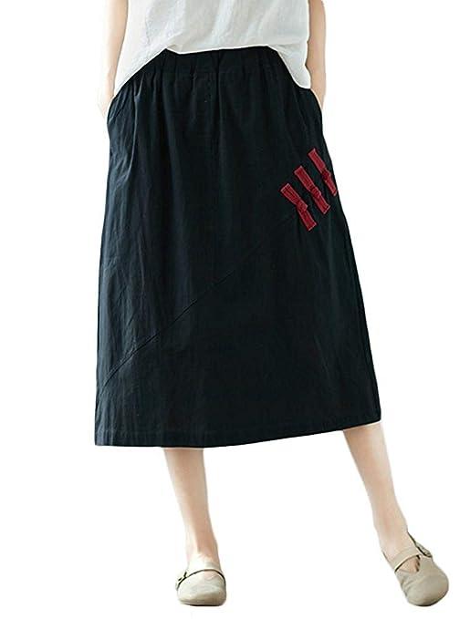 Qiusa Faldas Vintage de algodón Mujer con Bolsillos (Color : Negro ...
