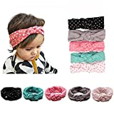 American Trends Baby Girl Newest Turban Headband Head Wrap Knotted Hair Band(B-5 Pairs-Mix Color)