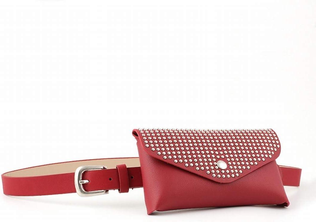 Xasclnis Cinturones Finos de Cuero para Mujer con Paquete de Cintura con Hebilla de Punta única (Color : Red)