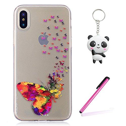 iPhone X Hülle Bunter Schmetterling Premium Handy Tasche Schutz Transparent Schale Für Apple iPhone X / iPhone 10 (2017) 5.8 Zoll Mit Zwei Geschenk
