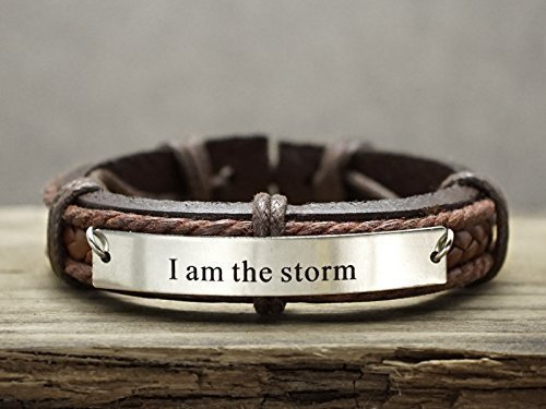 Personalized Mens Leather Bracelet, Inspirational Quote Engraved Cuff, Game of Thrones Inspired- I am the Storm, Available in Stainless Steel Copper Brass - Ice Id Bracelets