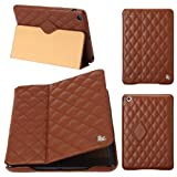 Jisoncase Quilted Genuine Leather Smart Cover Case for iPad 2/3/4 (JS-IPD-05G20)