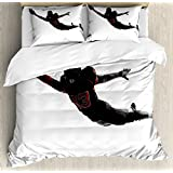 Lunarable Boy's Room Duvet Cover Set King Size, One American Football Player Leaping Scoring Touchdown in Silhouette Shadow, Decorative 3 Piece Bedding Set with 2 Pillow Shams, Black Red White