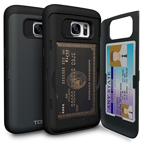 TORU CX Pro Galaxy S7 Wallet Case Dark Blue with Hidden ID Slot Credit Card Holder Hard Cover & Mirror for Samsung Galaxy S7 - Metal ()