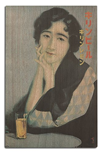 (Lantern Press Kirin Beer (Artist: Tada, Hokuu) Japan c. 1933 - Vintage Advertisement (12x18 Wood Wall Sign, Wall Decor Ready to Hang))