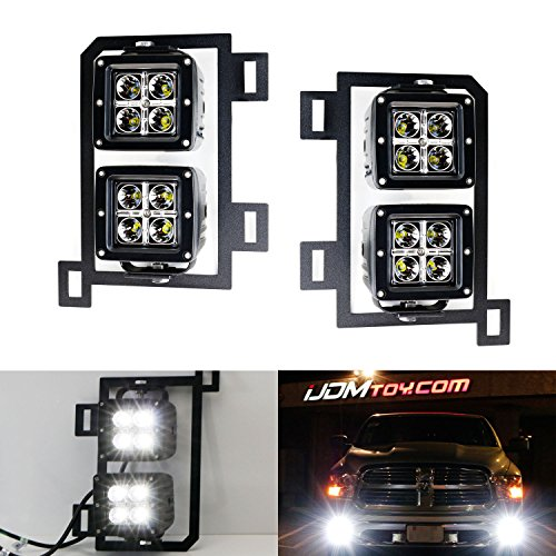 iJDMTOY 4x CREE High Power Dual LED Pod Light Kit w/ Fog Lamp Location Mounting Brackets & Wiring Adapters For 2013-2018 Dodge RAM 1500 (Replace Vertical Fog Lamps)