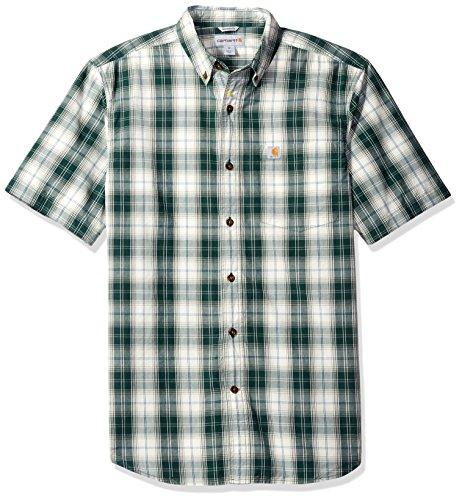 Carhartt Mens Essential Plaid Button Down Short Sleeve Shirt