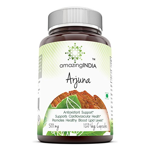 Amazing India Arjuna Bark Standardized to 25% Tannins 500 Mg 120 Veggie Capsules - Antioxidant Support* Supports Cardiovascular Health* Promotes Healthy Blood Lipid Levels*