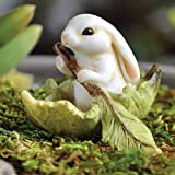 "Fiddlehead Fairy Village – ""Bunny in a Leaf Boat"" with Bonus Novelty Fairies Bill and ""I Believe in Fairies"" 3 Inch Round Decal For Sale"