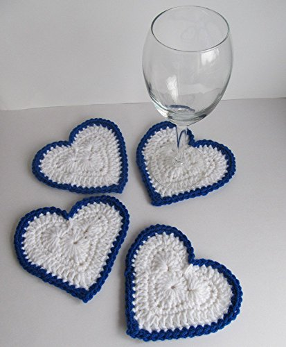Crochet Blue and White Heart Valentine's Day Coaster Set of 4 / Love Table Decor / UK Wildcat Blue Heart Coaster Set / Crochet Heirloom Tableware / Crochet Hearts / Wedding Hearts