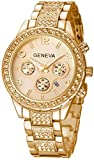 Fanmis Luxury Unisex Gold Crystal Quartz Calendar Stainless Steel Watch