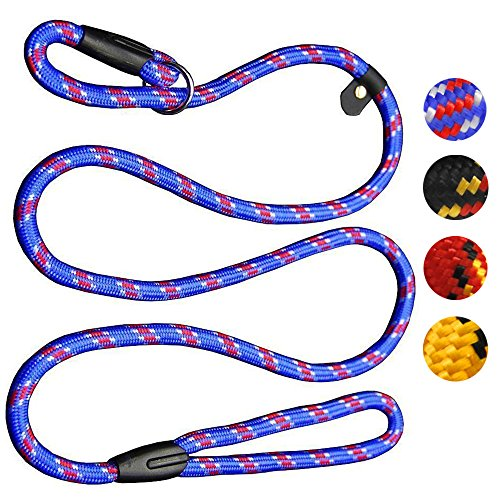 Coolrunner Dog Rope Leash, 5 FT Pet Slip Lead, Dog Training Leash, Standard Adjustable Pet Nylon Leash for Small Medium Dogs 10-80 lb Walking(Blue)