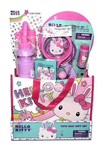 Megatoys Play Gift Set, Hello Kitty Water Bottle, Jumbo Chalk, Jump Rope, Paddle Ball Game, Bubbles Wand a Flying Disc in a Hello Kitty Tote Bag]()
