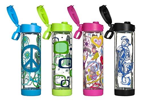 Glasstic Shatterproof Glass Water Bottle - 16oz Design Flip Cap - 4 Pack Assortment