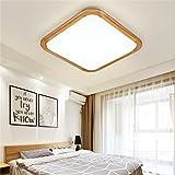 Hitommy 12W 1000LM LED Ceiling Lights Wood Square Flush Mount Fixture Lamp for Kitchen Bedroom 110V-240V