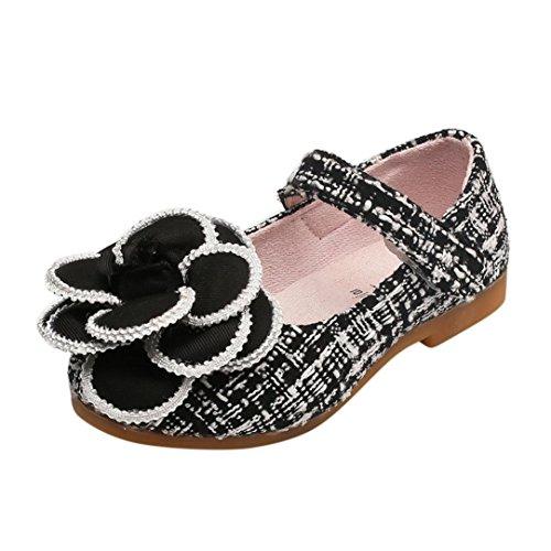 Kimloog Toddler Kids Baby Girls Camellia Flower Mary Jane Princess Single Rubber Shoes (Black, 8.5 M US Toddler)