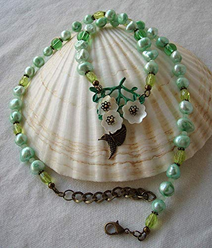 Cultured Necklace Bronze - Green Hummingbird Statement Necklace Cultured Freshwater Pearls & Antique Bronze Finish