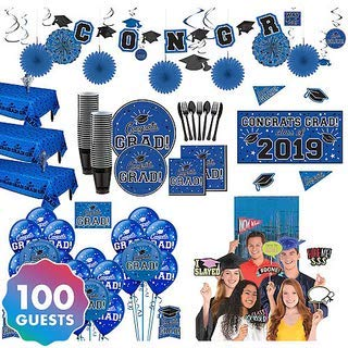 HollyDel Ultimate Blue Congrats Grad Graduation Party Kit for 100 Guests | A Great Addition to Graduation Party Supplies