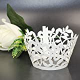 Somnr Premium Cupcake Wrappers - 108pcs Pack - Shimmering Decorative White Vine Lace Liner - Versatile design makes it perfect for your next event: Wedding, Birthday, Baby Shower, Tea Party