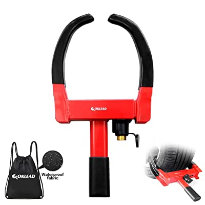 "OKLEAD Anti Theft Wheel Lock - Security Tire Clamp Tire Claw Boot for Atv'S Motorcycles Golf Cart Trailers Boats Max 10"" Width Tire 2 Keys Red/Black: Automotive"