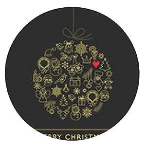alfombrilla de ratón Bola de Navidad - iconos de líneas blancas y negras - ronda - 20cm