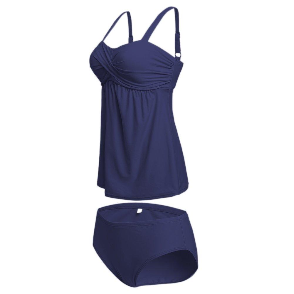 Qiaoer Women Two Pieces Swimwear Tankini Top with Triangle Bikini Bottoms (XXL, Dark Blue)