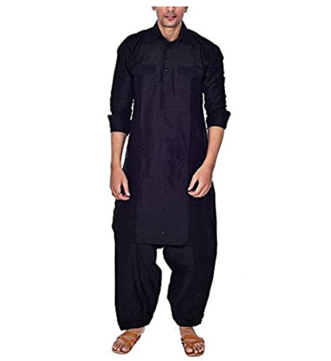 Royal Mens Black Silk Blend Festive Pathani Suit