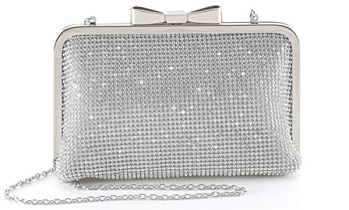 Yuenjoy Womens Crystal Rhinestone Evening Bags Wedding Clutch Purse with Bow Frame (Silver) (Clutch Purse Frame)
