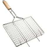 Deppon Stainless Steel Portable Grill Basket Wire Net with Wooden Handle Barbecue Wok Pan